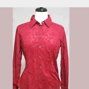 J Jill Womens Red Button Down Long Sleeve Shirt